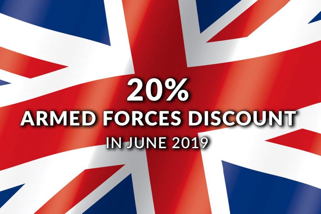 20% Armed Forces Discount in June 2019